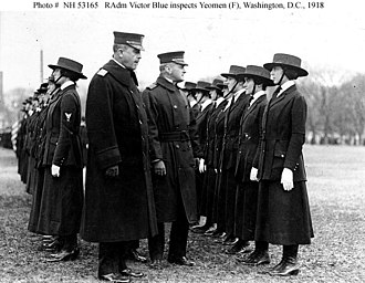 Yeoman (F) - Yeomen (F) being inspected by Rear Admiral Victor Blue (left center), Chief of the Bureau of Navigation, on the Washington Monument grounds, Washington, D.C., in 1918