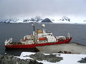 British Antarctic Survey - RRS ''James Clark Ross'' at the wharf at Rothera base