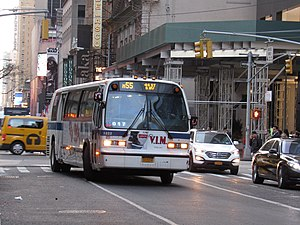 Fifth and Sixth Avenues Line - An M55 Nova Bus RTS-06 bus at its northern terminal in Midtown.