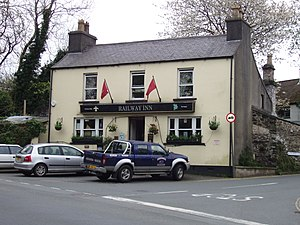 Union Mills - The Railway Inn at the Lhergy Cripperty/Peel Road (A1) intersection in Union Mills.