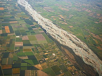 Braided river - Image: Rakaia River NZ aerial closer