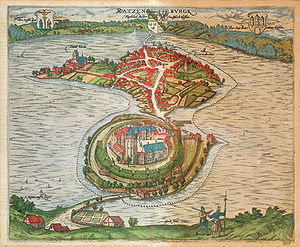 Saxe-Lauenburg - View of Ratzeburg, 1590, with the castle in the foreground.
