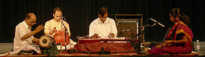 Gottuvadhyam - N. Ravikiran (center) playing the navachitravina.