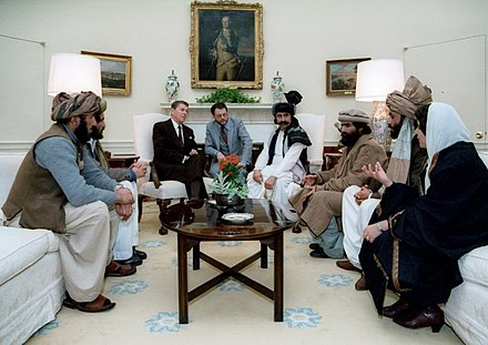 U.S. President Reagan meeting with Afghan mujahideen at the White House, to highlight Soviet atrocities in Afghanistan Reagan sitting with people from the Afghanistan-Pakistan region in February 1983.jpg