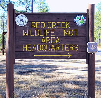 Red Creek Wildlife Management Area (Mississippi) - Location sign