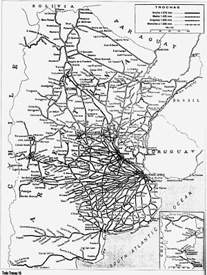 Ferrocarriles Argentinos - Map of the Argentine network during its maximum extension, c. 1954.