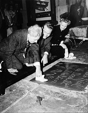 Sid Grauman - with Red Skelton at Skelton's imprint ceremony in 1942