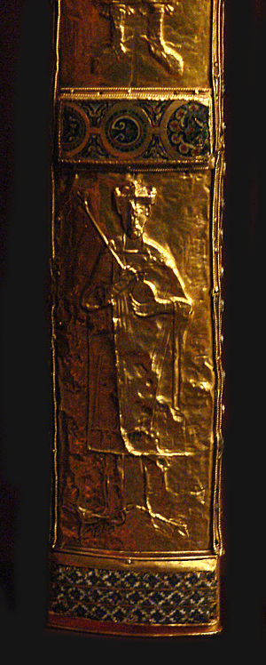 Imperial Sword - Imperial Sword scabbard (detail) showing one of the 14 engraved gold plates