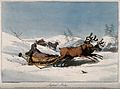 Reindeer are pulling children in sledges across the snowy hi Wellcome V0041046.jpg