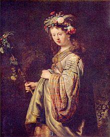 Рембрандт. «Портрет жены Саскии в образе богини Флоры», 1634