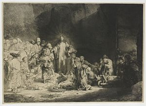 Matthew 19 - Rembrandt's Hundred Guilder Print depicting various events recorded in Matthew 19. 1649.