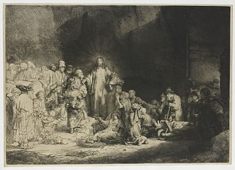 Christ Preaching, known as The Hundred Guilder Print, an etching by Rembrandt (ca. 1648). Rembrandt is generally considered the greatest etcher in the history of the medium (as an art in its own right). His most important contribution in the history of printmaking was his transformation of the 17th-century etching process from a hitherto relatively new craft into a truly admired art form in subsequent centuries, especially in the 19th century. Rembrandt The Hundred Guilder Print.jpg