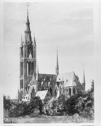 Hilversum - St. Vitus Church (architect Pierre Cuypers, construction Karel de Bazel), in a watercolor by K.P.C. de Bazel