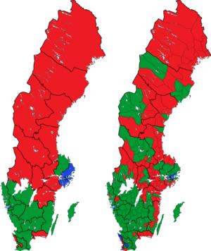 Rigsdagsvalget i Sverige 1976 i valgkredse og kommuner.png