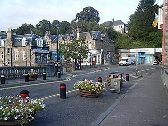 Dunblane - Image: Road junction from bridge, Dunblane. geograph.org.uk 1505186