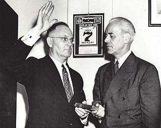 Robert J. Kirby - Robert J. Kirby being sworn in as Warden of Sing Sing Prison by John A. Lyons, Commissioner of Corrections, July 7, 1941.