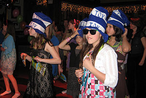 Mazel tov hats at a bat mitzvah