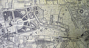 The Serpentine - Detail of the 1746 Rocque map showing the newly constructed Serpentine. The paths converging on the Round Pond to the west of the lake are also visible.