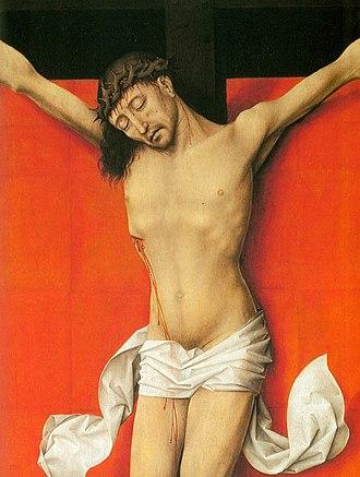Crucifixion Diptych (van der Weyden) - Detail of right panel.