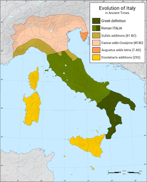 "Military history of Italy - Augustus created the first political/military entity called ""Italia"" in 27 BC, later expanded to include the islands of Sicily, Sardinia and Corsica by Diocletian in 292 AD"