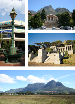 Top left: Victorian era cast iron Fountain at the historic centre of Rondebosch. Top right: University of Cape Town upper campus. Centre right: Rhodes Memorial. Bottom: Rondebosch Common