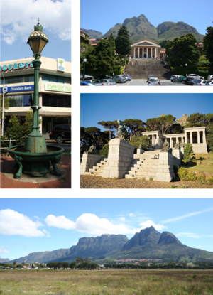 Rondebosch - Top left: Victorian era cast iron Fountain at the historic centre of Rondebosch. Top right: University of Cape Town upper campus. Centre right: Rhodes Memorial. Bottom: Rondebosch Common