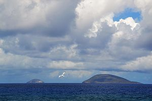 Île Ronde, Mauritius - Round Island seen from West, with Serpent Island to the right (north) of it