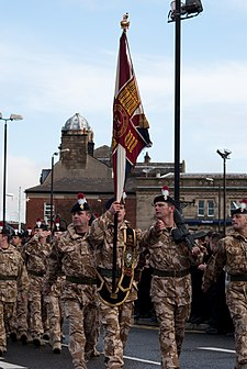 The Royal Regiment of Fusiliers 5th battalion Regimental colours flag.