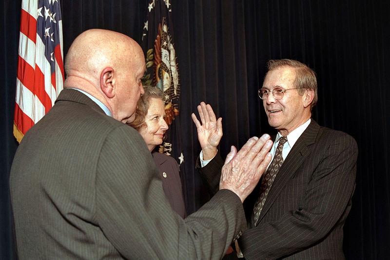 Rumsfeld is sworn-in as Secretary of Defense, January 20, 2001.jpg