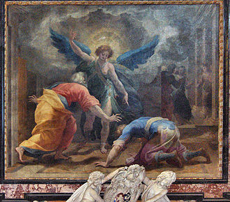 """Cristoforo Roncalli - """"The archangel Raphael and Tobias"""", church of Sant'Andrea della Valle, Rome"""