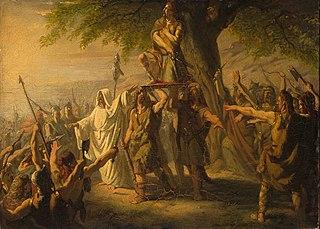 Anno 70. Brinio als leider der Kaninefaten op het schild geheven