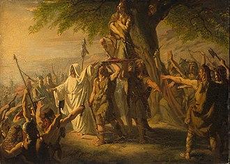 Brinno - Brinio als leider der Kaninefaten op het schild geheven by Barend Wijnveld (Anno 70).