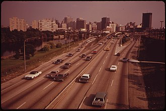Center City, Philadelphia - Schuylkill Expressway heading into Center City, 1973