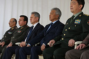 Imangali Tasmagambetov - Tasmagambetov with the other Defense Ministers of the SCO during a festival of Military Massed Bands in 2015.