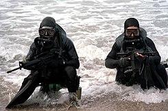 SEALs con trajes de buzo emergiendo del océano.