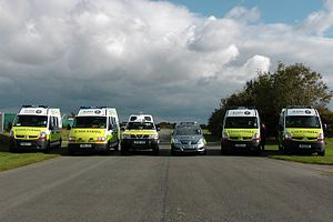 St John Ambulance (England and the Islands) - Image showing the various vehicles St John Use (Left to Right: 2 Crusaders, a Challenger, a Companion Plus and 2 further Crusaders)