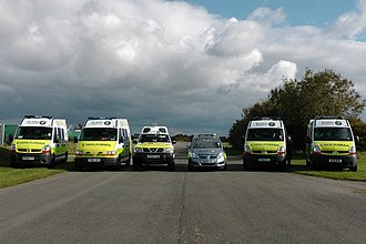 St John Ambulance in England - Image showing the various vehicles St John Use (Left to Right: 2 Crusaders, a Challenger, a Companion Plus and 2 further Crusaders)