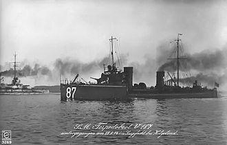 Battle of Heligoland Bight (1914) - Image: SMS V187at Heligoland
