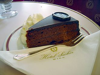 Torte - A serving of Sachertorte at the Hotel Sacher, Vienna