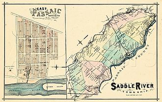 Saddle Brook, New Jersey - Map of Saddle River Township as of 1876