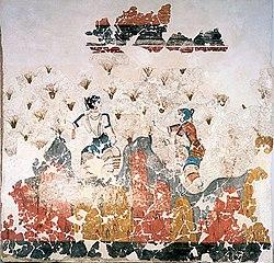 """The """"Saffron-gatherers"""": fresco found at Akrotiri on the island of Santorini."""
