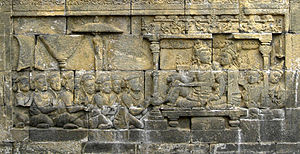 Maritime history of Odisha - The bas relief of 8th century Borobudur depict a King and Queen with their subjects, the scene is based on Sailendran royal court.