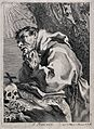 Saint Francis of Assisi in ecstasy. Etching after G. Reni, Wellcome V0032049.jpg