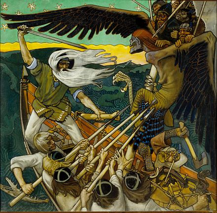 Akseli Gallen-Kallela, The Defense of the Sampo, 1896, Turku Art Museum Sammon puolustus.jpg