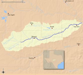 San Saba River - Map of the San Saba River and associated watershed