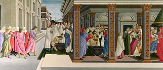 Scenes from the Life of Saint Zenobius - Zenobius rejects the bride chosen by his parents and walks away; Zenobius is baptized; his mother is baptized; he is consecrated as Bishop of Florence by Pope Damasus, London. 66.5 x 149.5 cm
