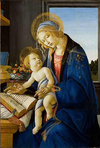 Madonna (art) - The Virgin and Child or The Madonna of the Book by Sandro Botticelli, 1480.