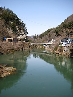 Sanseiji view from Sanseijibashi-bridge.jpg