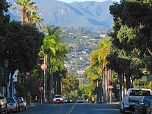 Looking North From A Santa Barbara Street Toward The Riviera And Ynez Mountains Beyond