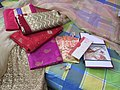 Saris, ornament, wedding cards in a bed 04.jpg